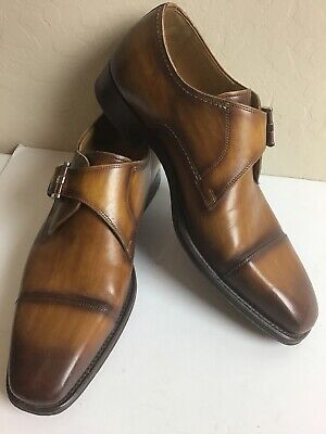 Mens Magnanni Brown Leather Monk Strap Dress Loafer Shoes Size 7.5M