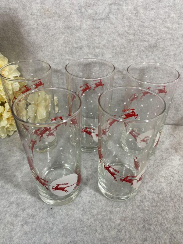 VINTAGE CHRISTMAS NADIR DRINKING GLASSES WITH SANTA REINDEER SLEIGH SET OF 5