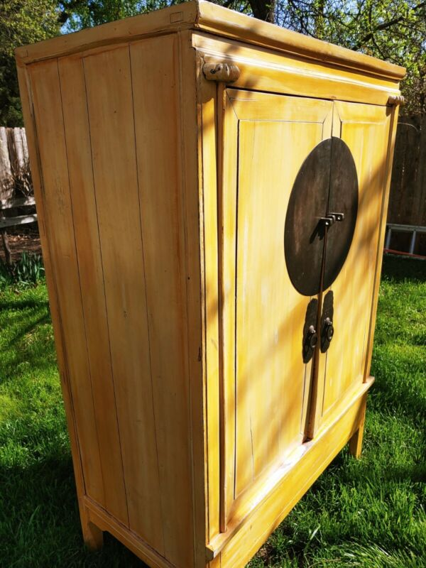 Chinese Wedding Chest / Armoire / Cabinet - rare yellow finish