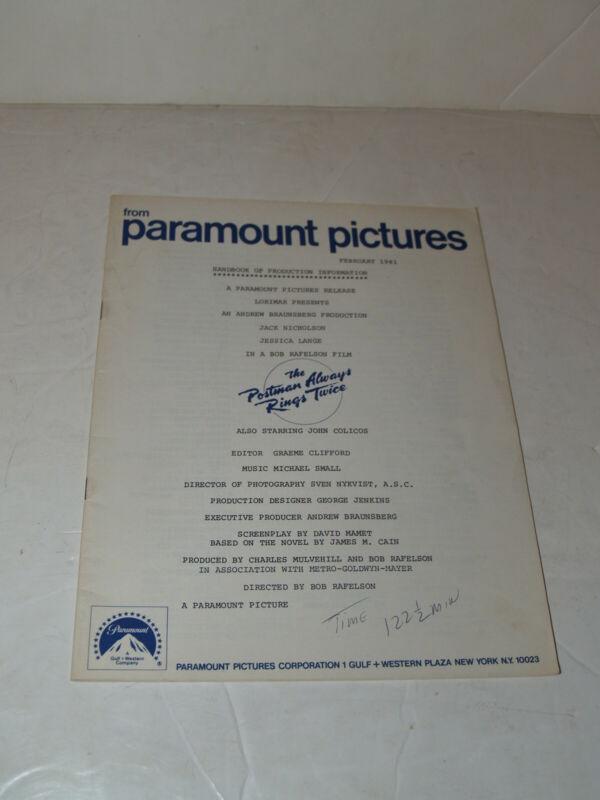 Paramount handbook of production info Postman Always Rings Twice-Jack Nicholson
