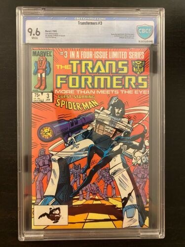 Transformers #3 (Jan 1985) - CBCS 9.6 (not CGC) - Early Black-costume Spider-Man