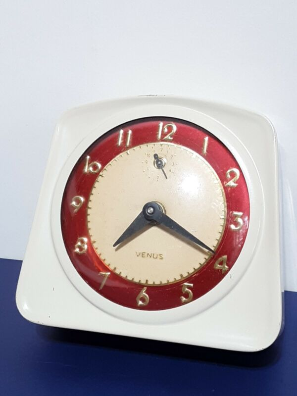 Vintage Lux Clock Co. Venus▪Wind Up Mechanical Alarm Clock Ivory/Red▪WORKS GREAT