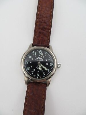 Vintage Quicksilver Divers Watch 165 ft Glowing Face and arms Leather band ED 11