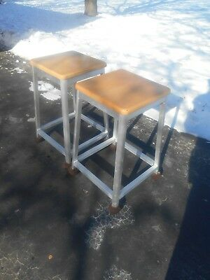 - Pair of Brushed Aluminum Kitchen / Bar Stools w Hard Rock Maple Seats- 26 in. H