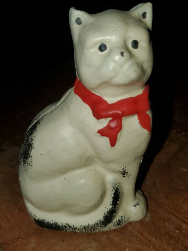 White Kitty Cat  Cast Iron Bank