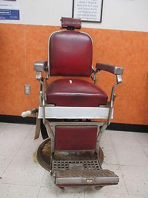 Antique Vintage Koken Companies Barber Chair Wirh Headrest And Straps