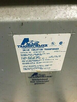 Acme Drive Isolation Transformer Model Dtgb-027-4s - 27 Kva 480 Primary