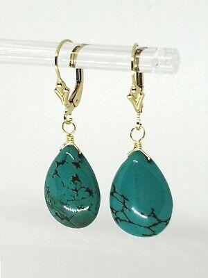 14k Yellow Gold Filled Turquoise Briolette Drop Dangle Earrings