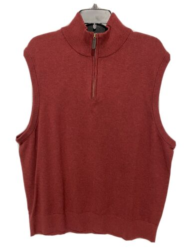 Cremieux Mens 1/4 Zip Sweater Vest Pullover XXL 2XL Golf Red Mock Neck NWT Clothing, Shoes & Accessories