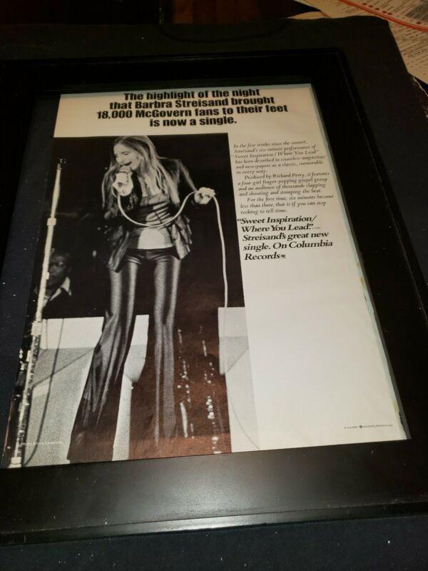 Barbra Streisand Sweet Inspiration Rare Original Promo Poster Ad Framed!