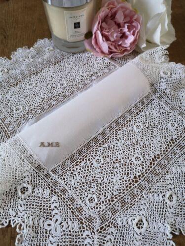 Antique fine hand crochet Clones Irish linen lace doily  ~ Roses Monogrammed