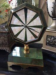Maitland Smith Emerald Green Dyed Penshell & White Shell Inlaid Clock Brass Base