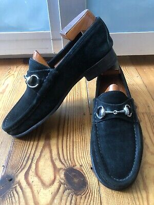Very Cool Gucci Black Suede Horsebit Loafers 0009 Sz 42 UK 8 E