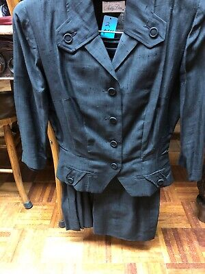 Vtg Black Cotton ? Skirt & Jacket 1960s  Jackie O look