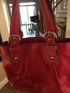 Red leather Coach purse. Excellent condition.