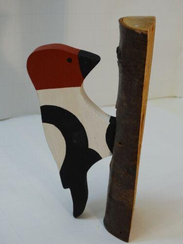 VTG Pull Toy Redheaded woodpecker bird on tree trunk Yard Art Porch Patio Decor