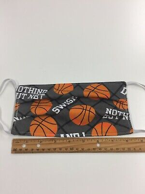 Basketball Print Face Mask Adult   Reversible