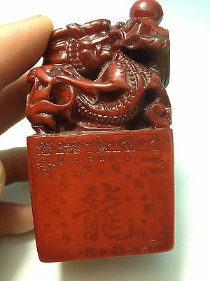Chinese shoushan stone  Hand-carved Dragon Seal  Statues