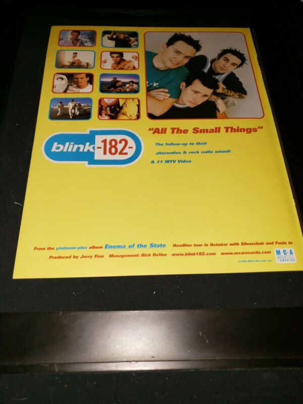 Blink 182 All The Small Things Rare Original Radio Promo Poster Ad Framed! #2