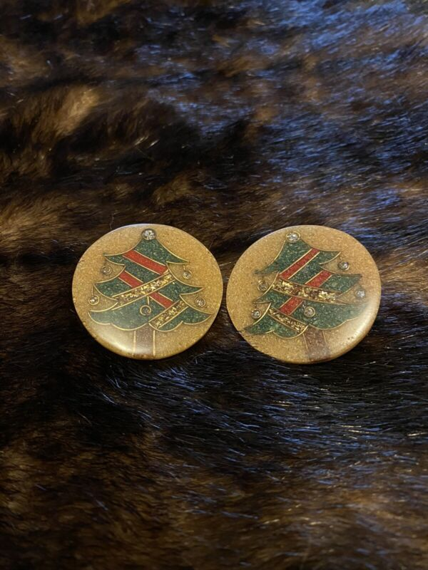 vintage christmas clip on earrings