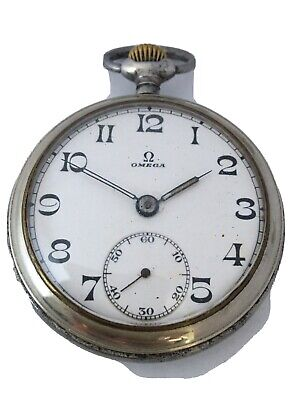 Antique Chrome Omega Hand-winding Pocket Watch For Spares Or Repair
