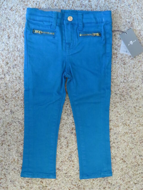 7 for All Mankind Toddler Girls Aqua Blue SKINNY Jeans - Size 2t ...