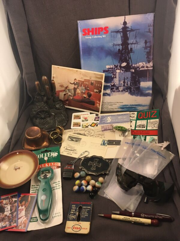 Junk Drawer Lot Decor Collectibles Advertising Marbles Esso & More #15