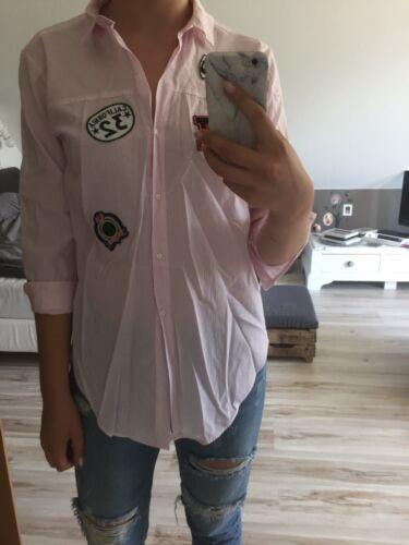 Bluse Rosa Weiß Gestreift Zara Patches M