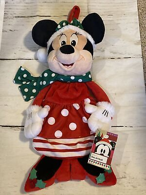 New DISNEY Minnie Mouse Plush 3D Christmas Holiday 21 inches Stocking w/ Pouch