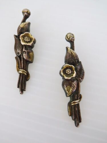 Antique Pair of Japanese MENUKI Sword Adornment Brass with Gold Flowers 1 7/8 in