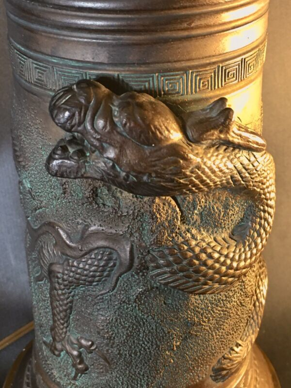 Antique Bronze and Brass Chinese Dragon Table Lamp Wrap Around Design