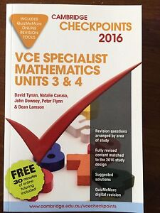 VCE specialist maths cambridge checkpoints unit 3&4 2016 Beaumaris Bayside Area Preview