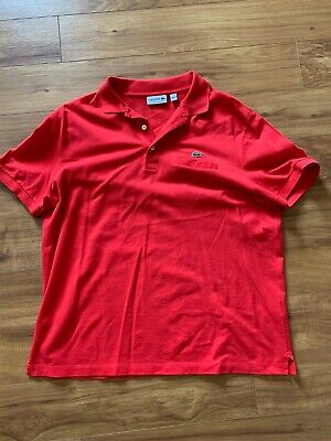 Lacoste Mens Size 7 / 2XL Pocket Polo Red - Free Shipping