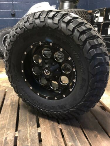 "(5) 17"" Fuel Revolver Black Wheels Jeep Wrangler Jk Jl 35"" Bfg Km3 Tires Package"