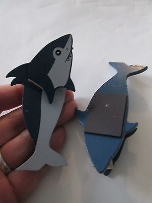 - lot 2 shark clothes pin fridge magnets chip memo note clips ocean fish novelty
