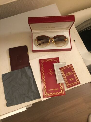 Lunettes cartier malmaison full set (54 rare size) (vintage wood sunglasses)
