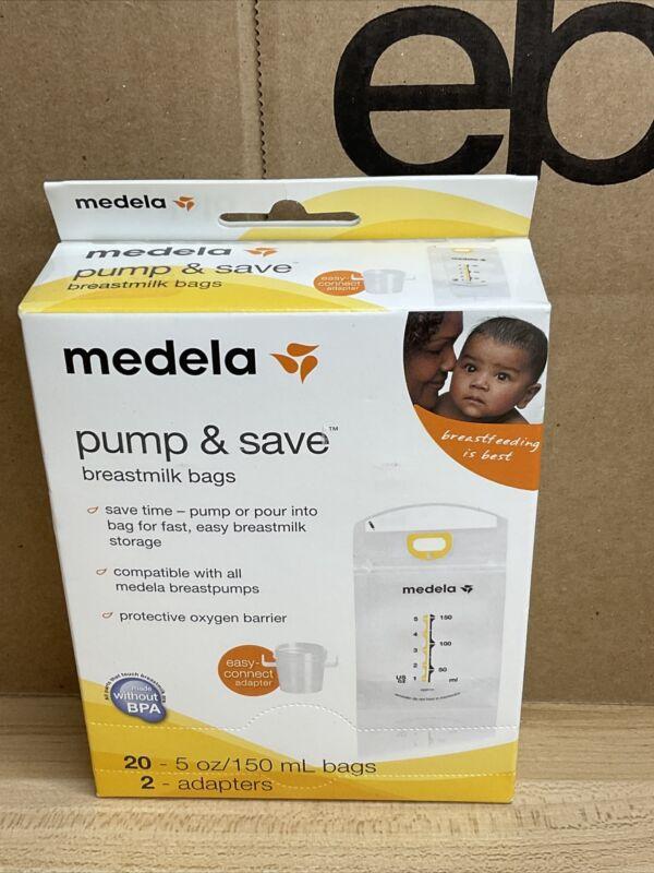 Medela Pump & Save Breastmilk Bags (20 count w/2 adapters) New/Sealed Box