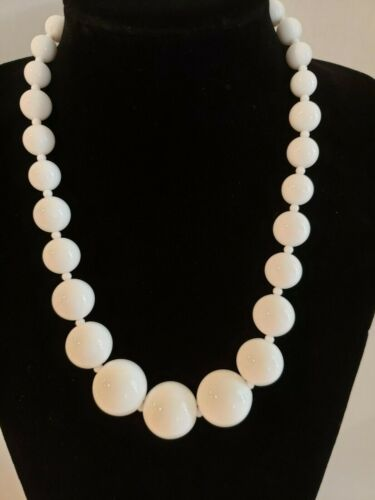 Vintage Statement Large White Lucite Beads/Silver Tone Metal/Necklace/Gift Boxed