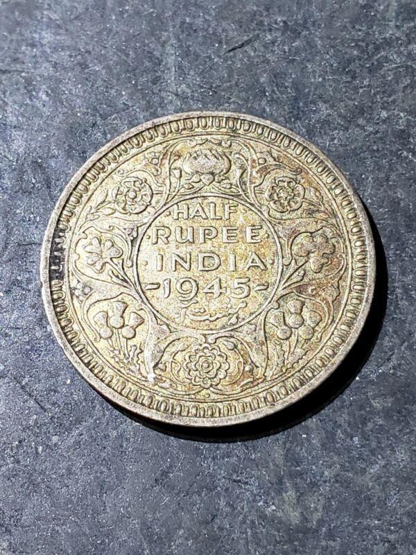 1945 INDIA 1/2 RUPEE Silver Coin