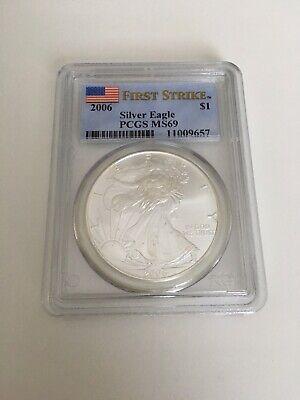 2006 FIRST STRIKE Silver Eagle PCGS MS-69 1oz Silver US Silver Coin .999 America