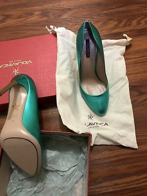 NIB Violavinca Green Metallic Leather Pumps Shoes Stilettos Sz IT 40