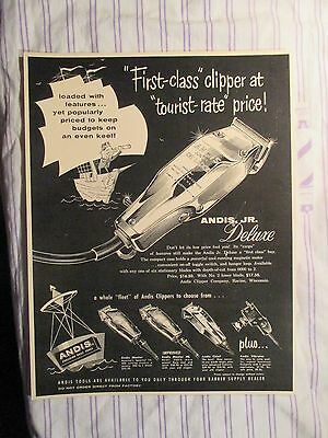 "Vintage Barbershop Andis Junior Deluxe ""First Class Clipper"" Sign Ad"