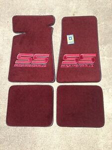 Carpeted Floor Mats - Large Red Monte Carlo SS on Maroon Mats