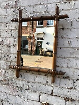 Antique Faux Bamboo Timber Medium Mirror English 1920's 30's Country House