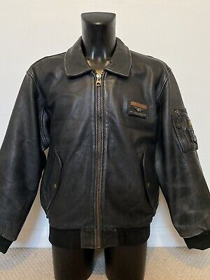 VINTAGE REDSKINS BOMBER FLIGHT LEATHER JACKET SIZE  XLARGE IN BLACK