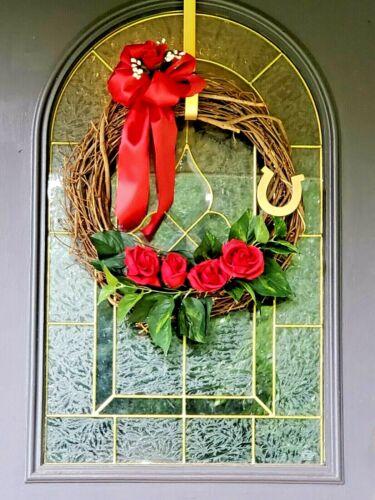 Christmas Roses Good Luck Wreath Door Garage Wall Decor KY Derby Horse Racing