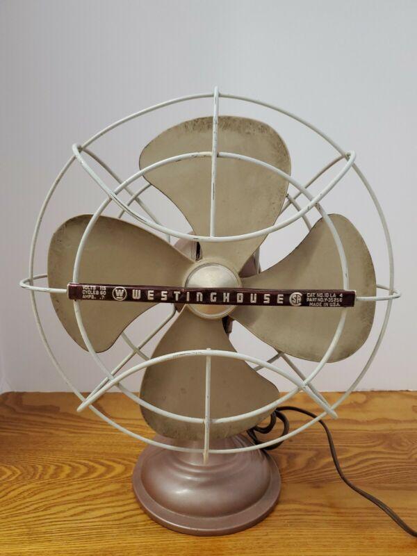 Vtg Westinghouse Table Top Oscillating Fan Part #Y-35256 Cat No.10LA4 WORKS