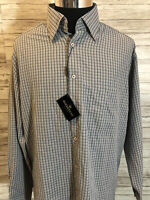 Men's NWT Bugatchi Uomo Micro Plaid L/S Shirt Large L New Castle Rock N20 (Plaid Micro Rock)