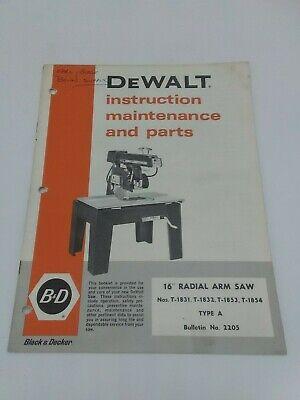 Dewalt 16 Radial Arm Saw Instructions Maintenance Parts Manual. Original.