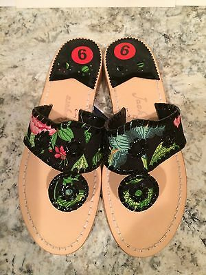 Jack Rogers Navajo Sandals Flat Fabric Leather Flip Flops Thong Black Multi 6 M